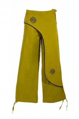 Pantalon en coton à revers brodé coté