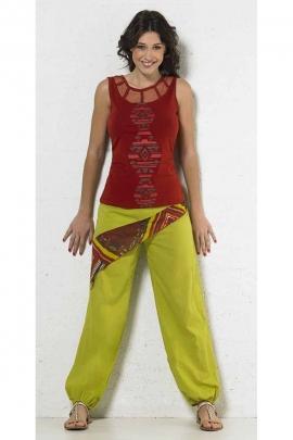 Pantalon coton 1 poche imprimé coté aztèque