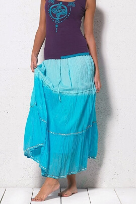 Long skirt in cotton, with sail with sequins