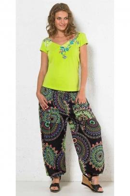 Pantalon bouffant polyester 2 poches imprimé mandala