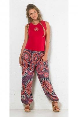 Pantalon bouffant polyester 2 poches imprimé paons