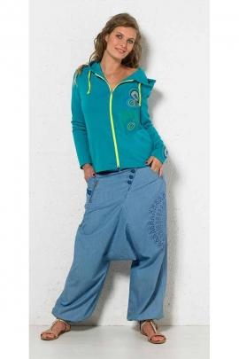 Harem pantalones jeans para mujer 100 % algodón
