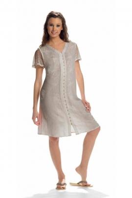 Jolie robe brodée mi-longue stone washed