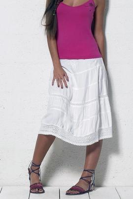 Falda de viscosa mediados de largo, con bordado inglés