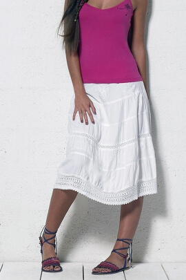 Mid-length viscose skirt with embroidery