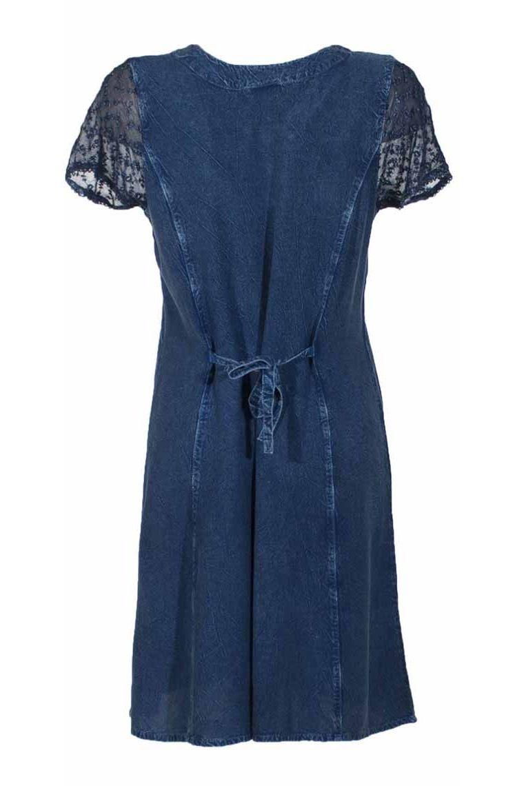 e26e198c0d ... Bonito bordado vestido de mediados de largo piedra lavada ...