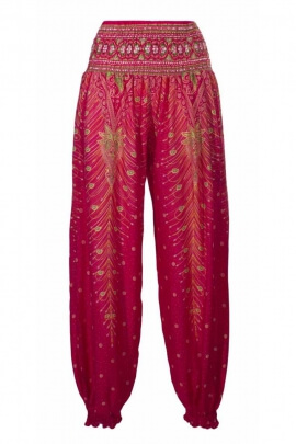 Baggy trousers viscose, feather motifs