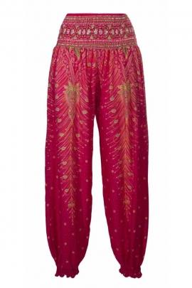 Pantalon bouffant en viscose, motifs plumes