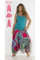 Convertible colored Harem 3 in 1 printed cotton