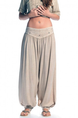 Viscose puffy trousers with mirrors