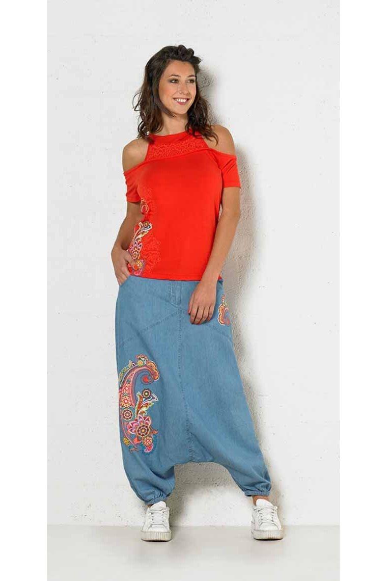 Sarouel pour femme en coton, tissu jean motif cachemire