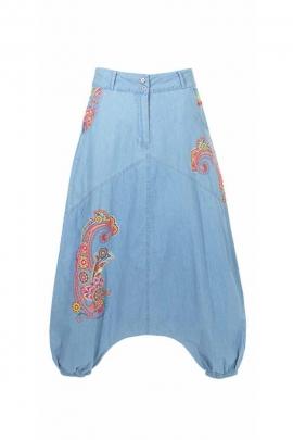 Harem pantalones para las mujeres de algodón, tela, jean motivo de cachemira