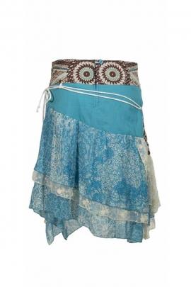 Jupe asymétrique indienne, style bohème, en coton doublé
