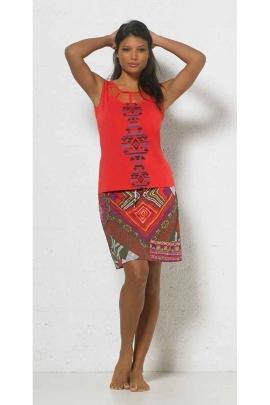 Jupe courte en voile de coton doublée motifs aztèque