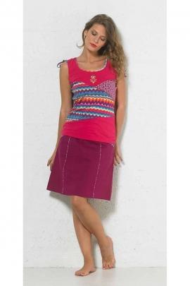 Pretty short skirt cotton poplin printed border