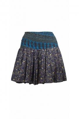 Miniskirt light printed sari and flowers, elasticated waist