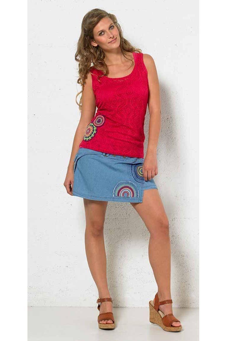 jupe coton colorée imprimé, longue et courte, été original ethnique, fleurie originale
