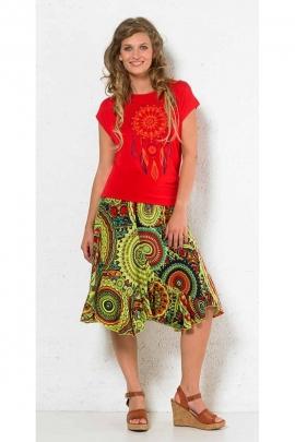 Falda de giro medio largo, de colores, impreso mandalas