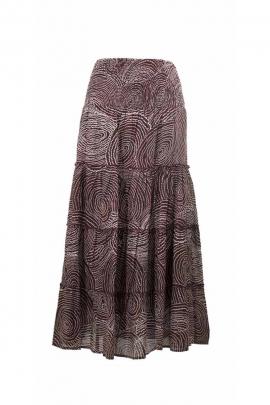 Jupe à volants voile de coton doublée, imprimé aborigène