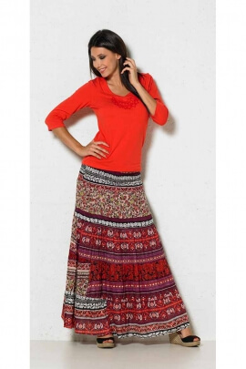 Jupe indienne longue et légère, taille élastiquée façon bohème