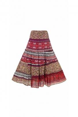Long, light Indian skirt, elasticated waist bohemian way