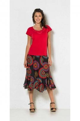 Falda de giro de la india a mediados de largo, impreso mandalas, en voile de algodón