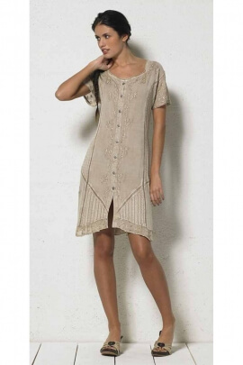 Dress casual knee-length embroidered viscose stone wash