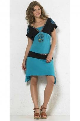 Robe asymétrique en coton, déco boutons Yin et Yang