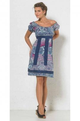 Original stylish cotton dress, high waist, shoulders exposed