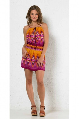 Original sexy mini dress in polyester voile printed Tie Dye