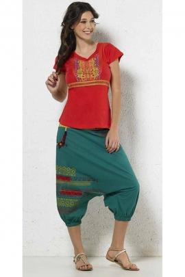 Tshirt original et décontracté, imprimé ethnique, en tissu dévoré