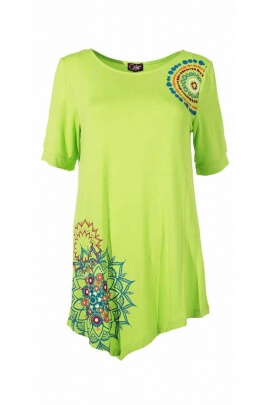 Chic tunic, asymmetrical ethnic print half sleeve