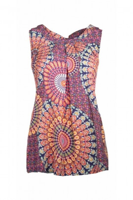 Top tank top ethnic style, knotted at the back, printed peacocks