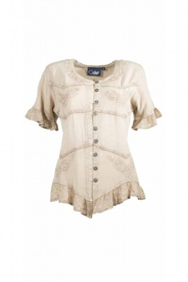 Stone Wash romantic lace blouse down