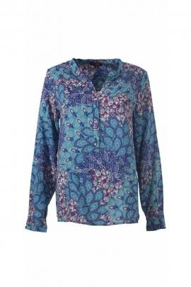Jolie blouse fluide et légère avec des manches longues, imprimé fleurs pastel
