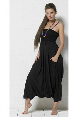 Overalls ethnic casual harem pants with suspenders, Women