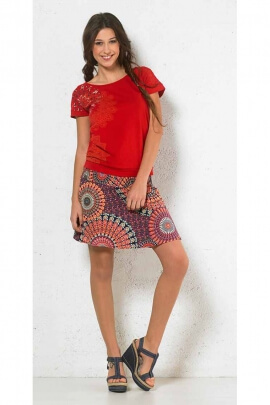colored minijupe, polyester, printed Mandala