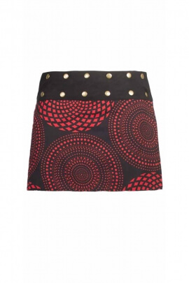 Reversible skirt 35 cm, printed mandalas or pen, with rivets, Indian manufacturing