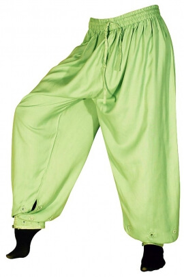 Viscose puffy trousers with mirrors at the bottom of the legs