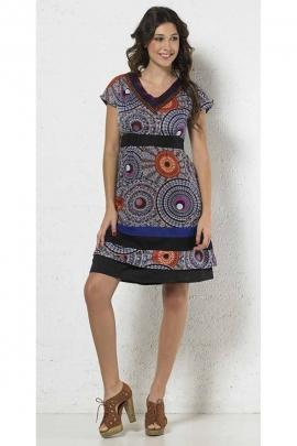 Robe légère et colorée en voile de coton doublée, col en V, imprimé mandala