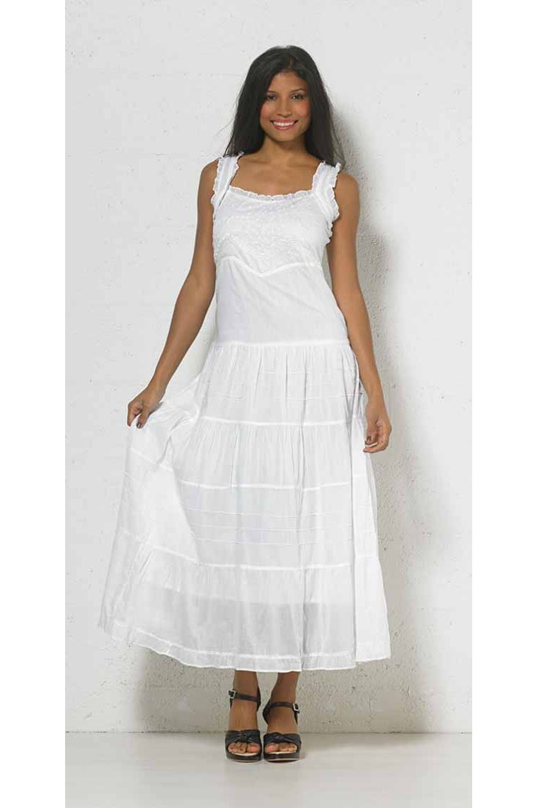 7d4c96f6c Vestido largo bordado sólido de algodón