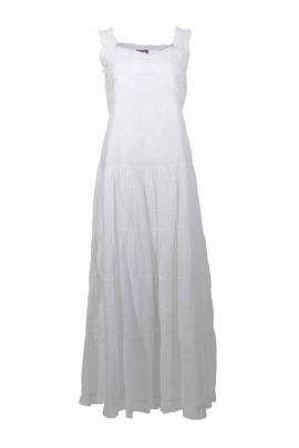 Robe longue unie brodée, en coton, style romantique