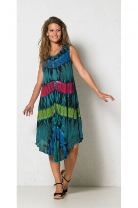 Dress comfortably and extensible range, crepe color Tie and Dye