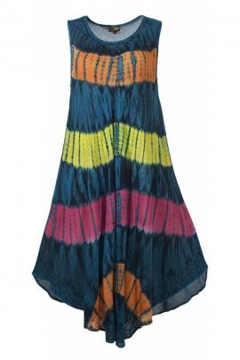 Robe longue de plage confortable et extensible, en crêpe couleur Tie and Dye