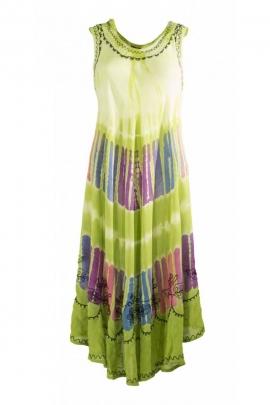 Robe de plage longue et originale, spécial canicule en crêpe couleur Tie and Dye