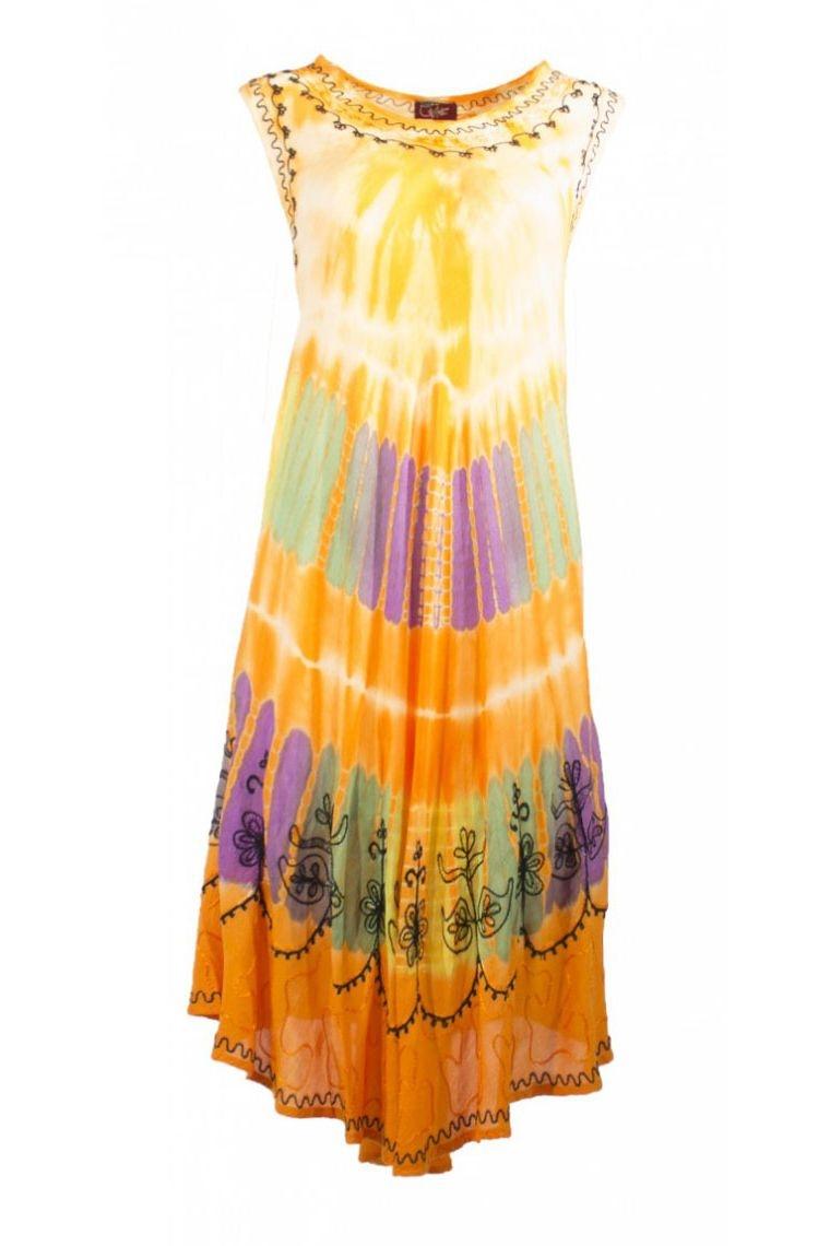 robe ample et longue pour plage sp cial canicule en cr pe couleur tie and dye. Black Bedroom Furniture Sets. Home Design Ideas