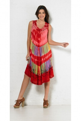 Dress long and original beach Special heatwave crepe color Tie and Dye