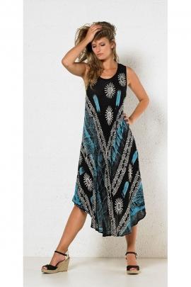 Robe longue de plage fluide, extensible et ample, en crêpe noire, blanc et bleu