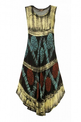 Dress comfortable stretch long beach, African printed in black crepe, white and blue