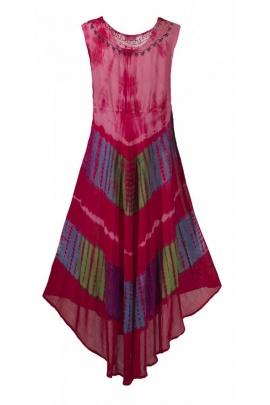 Robe de plage confortable, asymétrique et souple, en crêpe couleur Tie and Dye longue